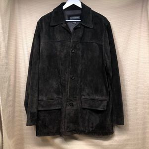 Banana Republic Leather Suede Button Pockets Coat